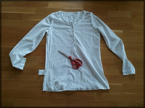 White shirt ready to be recycled
